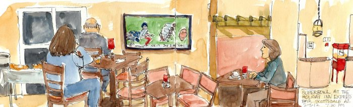 """Superbowl at the Scottsdale Holiday Inn, ink & watercolor, 5x16"""""""