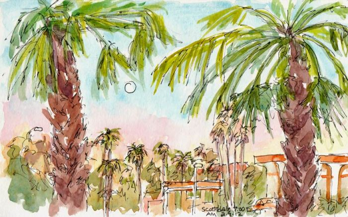 Dawn View from my Scottsdale  hotel window, ink & watercolor 5x8""