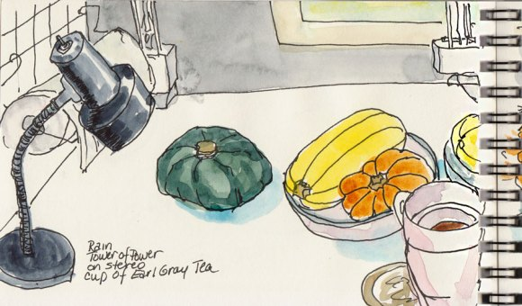 """Lamp and squash on right side of table & sketchbook, ink & watercolor, 4x6"""""""