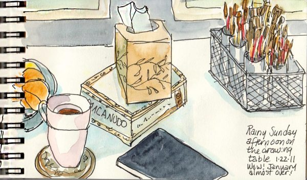 """Art supplies and tea on right, ink & watercolor, 4x6"""""""