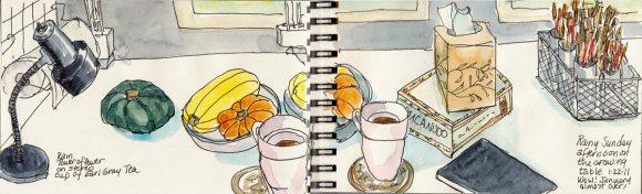 """Table still life, full spread in sketchbook, 4x12"""""""