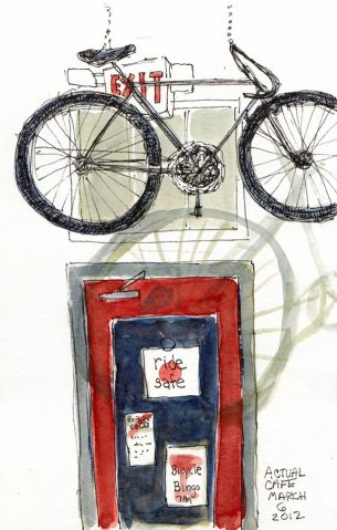 """Actual Cafe: Bike Hangs From Ceiling, Ink & watercolor, 8x5"""""""