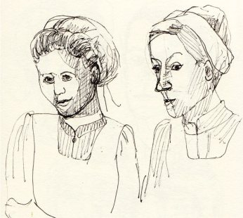 Anna Smith, Head Housemaid (R) and another maid