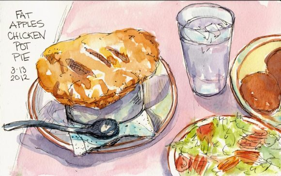 "Chicken Pot Pie Celebration, ink & watercolor, 5x8"""