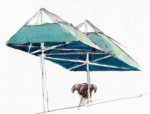 "Umbrellas Inside Fat Apples, ink & watercolor 5x8"""