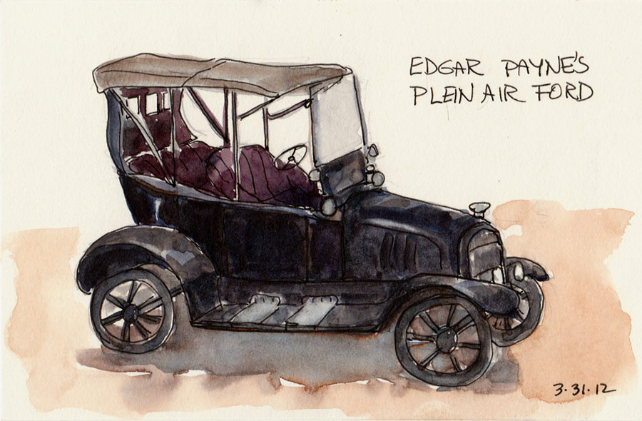 """Edgar Payne's Ford, ink & watercolor, 4x6"""""""