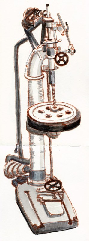"Steam-Powered Victorian Drill Press, 16""x5, ink & watercolor"