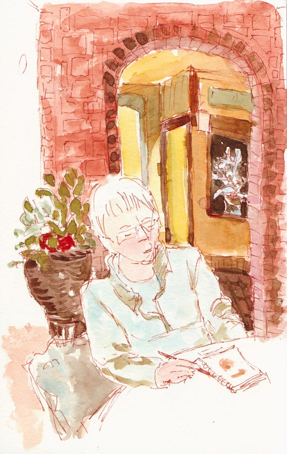 Cathy Sketching at Le Bateau Ivre, Sepia pen and watercolor, 8x5