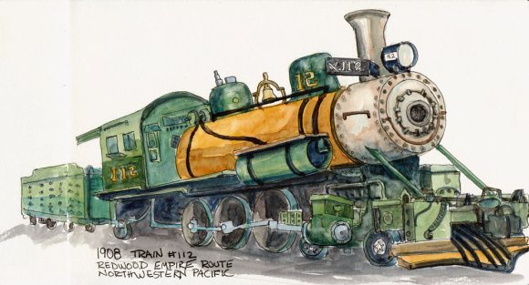 1908 Train #112 Redwood Empire Route, ink & watercolor, 5x10""