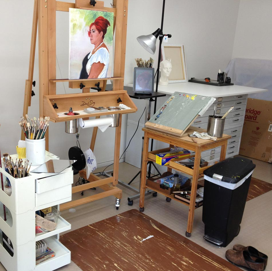 My new remodeled art studio tour at last jana bouc for Canvas painting classes