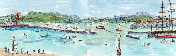 San Francisco Bay from Aquatic Park, ink & watercolor 16x5.5""