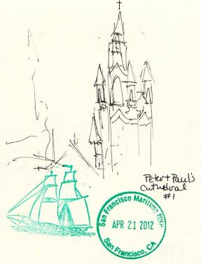 Saints Peter and Paul Church, with rubber stamps, 4x4""