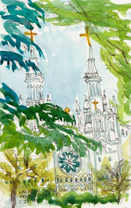 Saints Peter & Paul Church, viewed from Washington Square, Ink & watercolor, 8x5.5""