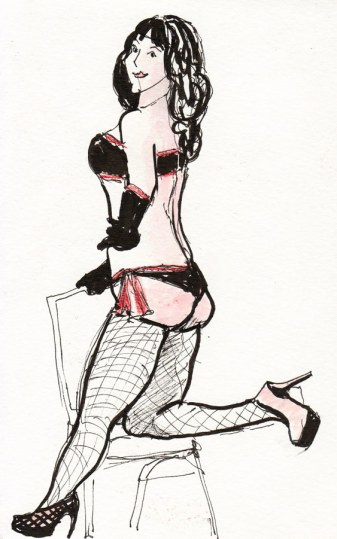 First pose of the day, ink & colored pencil, 8x5.5""