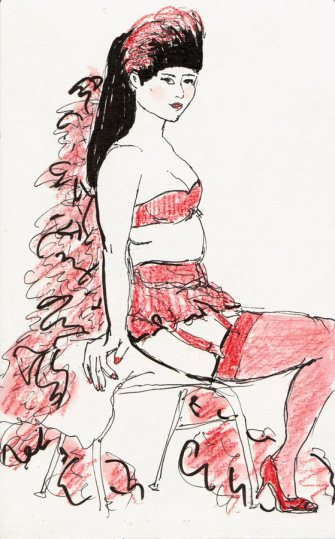 Lady in Red at Dr. Sketchy's, ink & water-color pencil, 8x5.5""