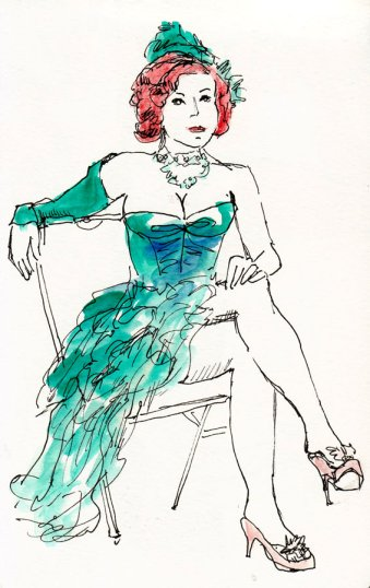 Miss Red, in Green, ink & watercolor, 8x5.5""