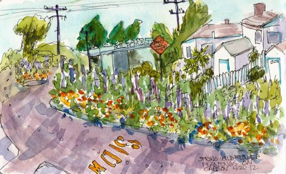Wildflowers on Carlson Boulevard, ink & watercolor 5x8""