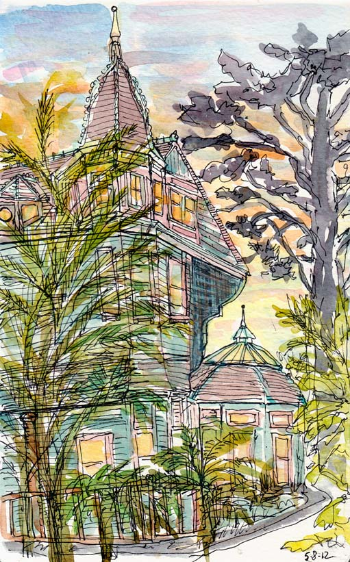 Albina Street Victorian, ink & watercolor (added at home), 8x5""