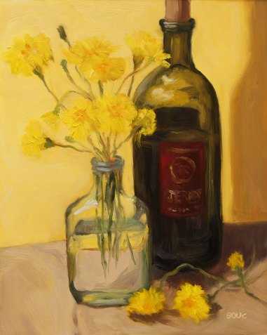 Dandelions and Wine, Oil Painting on Gessobord, 10x8""
