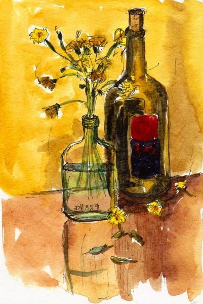 "Dandelions & Wine, Watercolor, 7.5""x5"""
