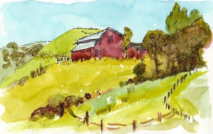 """View from Bull Valley Trail Staging Area, Crockett, ink & watercolor 5x8"""""""