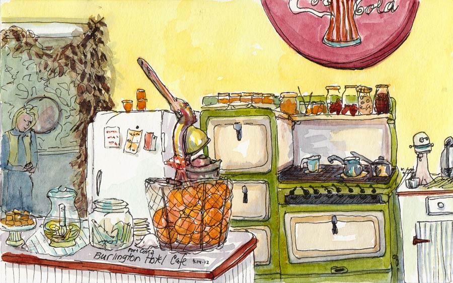"Burlington Hotel Cafe, Port Costa, ink & watercolor, 5x8"""
