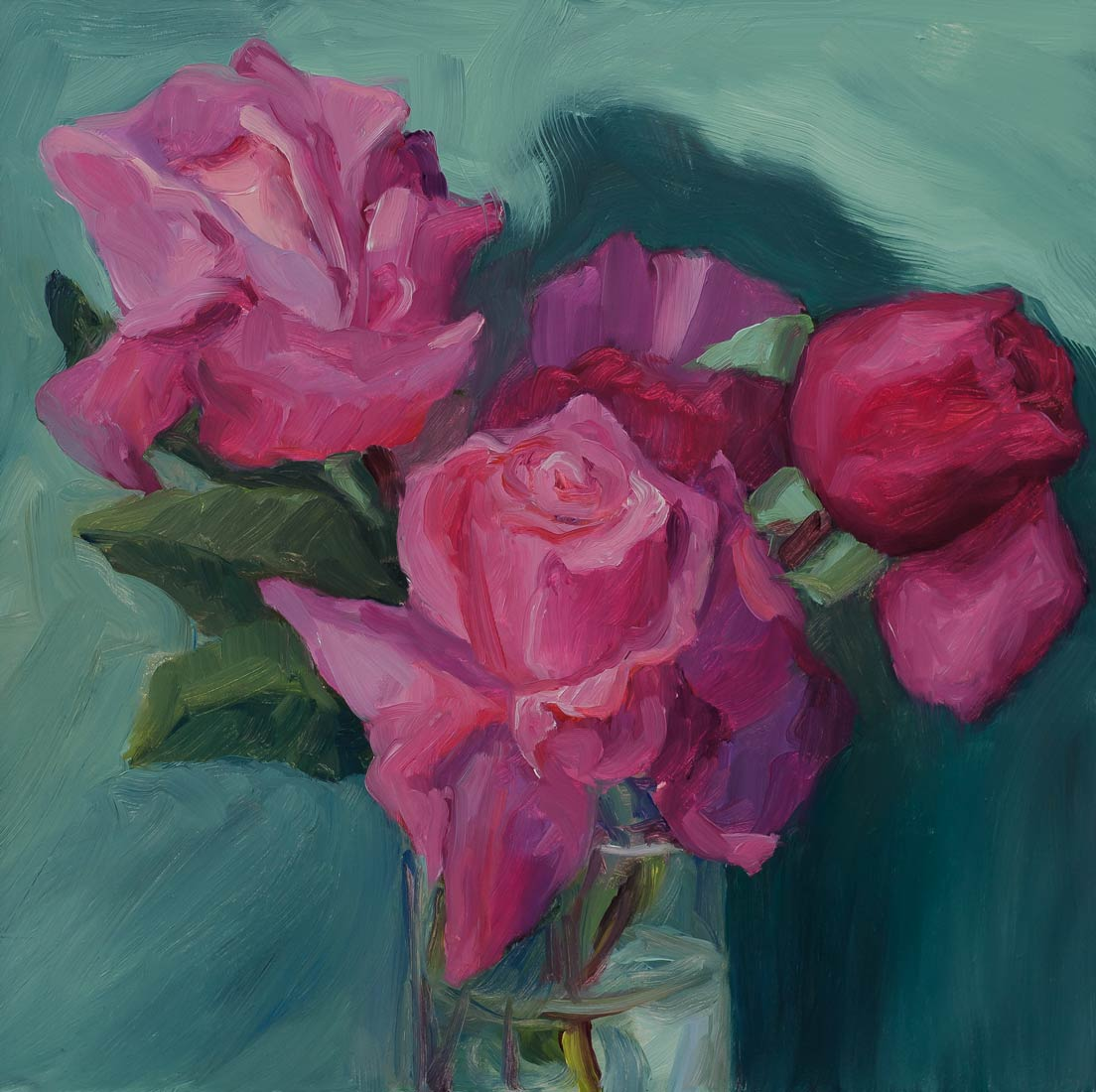 Stolen Roses, oil painting on panel, 8x8""