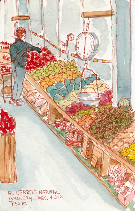 El Cerrito Natural Grocery, sepia ink & watercolor