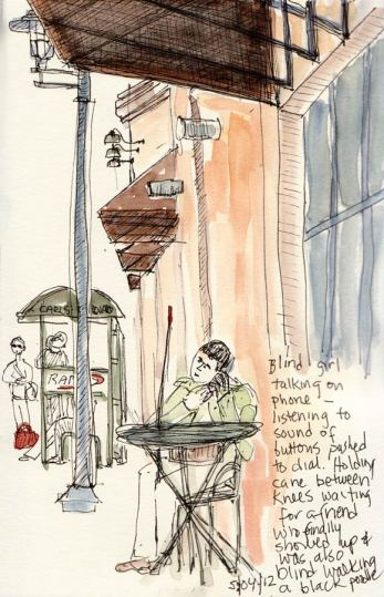Outside Peets Coffee, Ink & watercolor