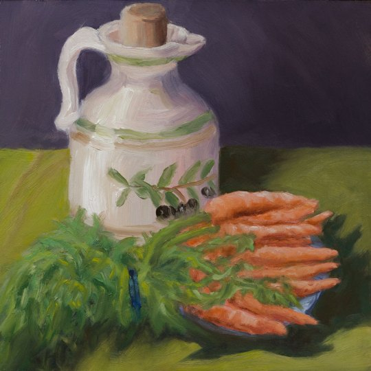 Stumpy Carrot study #1, oil on Gessobord panel, 8x8""