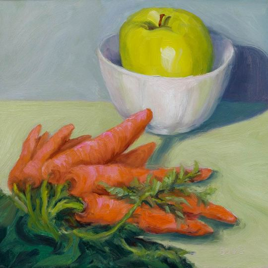 Stumpy Carrot Study 2, oil on panel, 8x8""