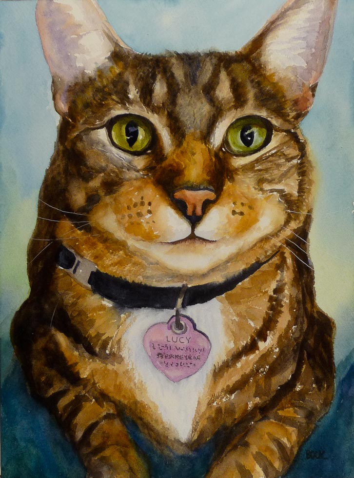 Lucy, Watercolor cat portrait on Arches paper, 12x9""