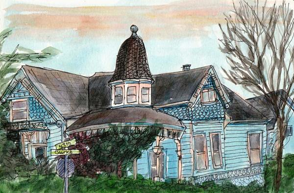 Temescal Clark Street Victorian, ink & watercolor, 5.5x8""