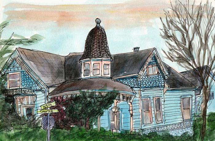 "Temescal Clark Street Victorian, ink & watercolor, 5.5x8"""