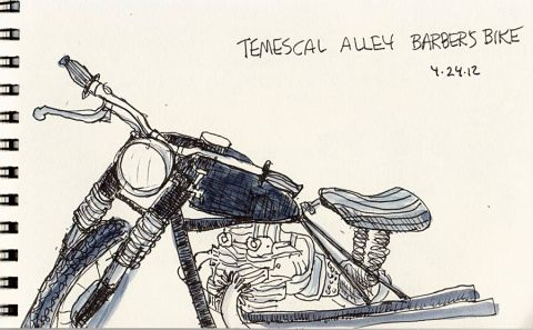 Barber's motorcycle, ink, 4x6""