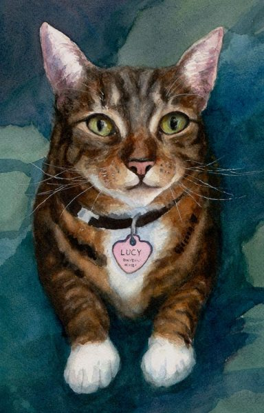"""Lucy, Painting #1, watercolor cat portrait on Arches paper, 11x8"""""""