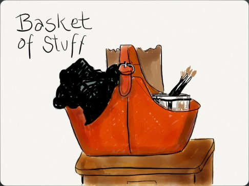 The Red Studio Basket, drawn on iPad