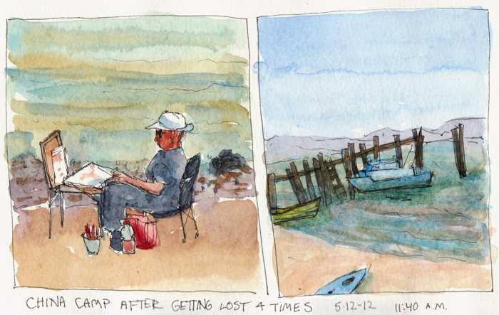 Plein Air Painter and the Old Pier at China Camp Village, ink & watercolor, 5x8""