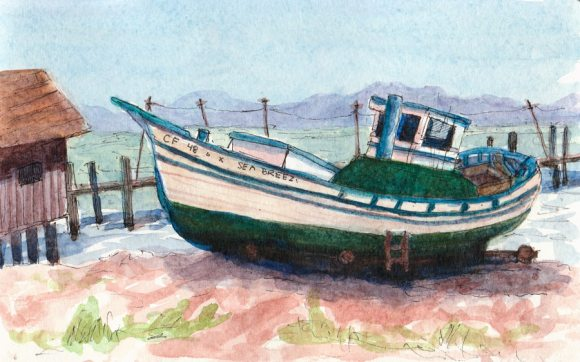 Sea Breeze, Grounded Boat at China Camp Village, ink & watercolor 5x8""