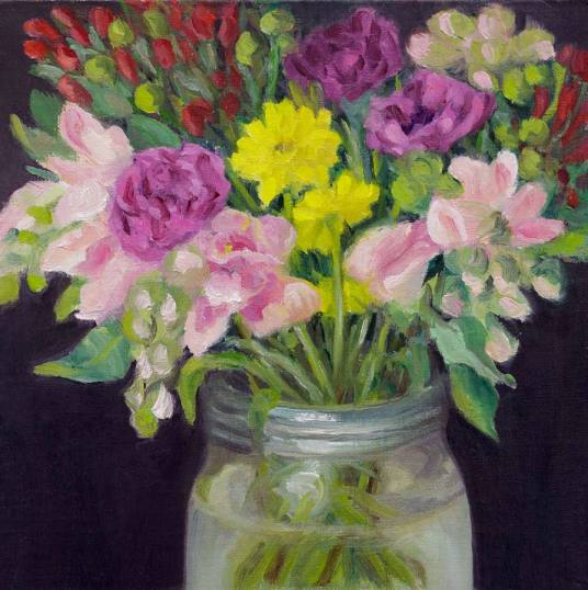Mothers' Day Bouquet #1, oil on linen panel, 8x8""