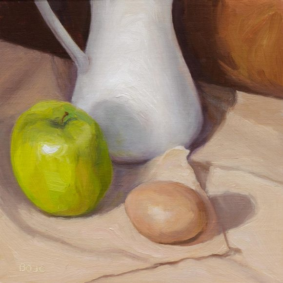 Apple, Pitcher and Egg; Oil on board, 8x8""