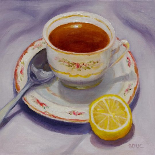 Tea and Lemon on Lavender, oil on linen panel, 8x8""
