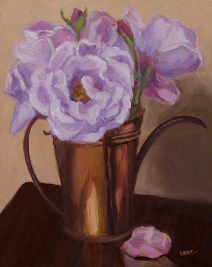 Peonies in Mom's Copper Pitcher, oil on Gessobord, 10x8""
