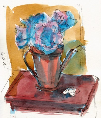 Peonies, quick preliminary  thumbnail sketch in journal