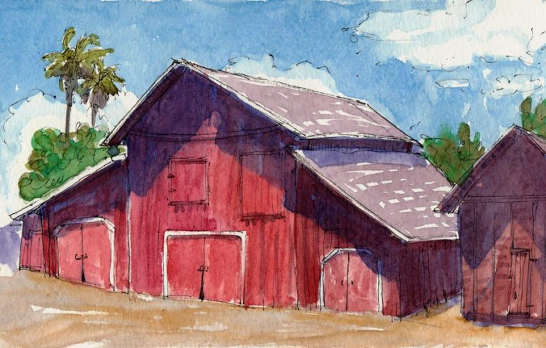 Ruth Bancroft Gardens Old Barn, ink & watercolor, 5x8""