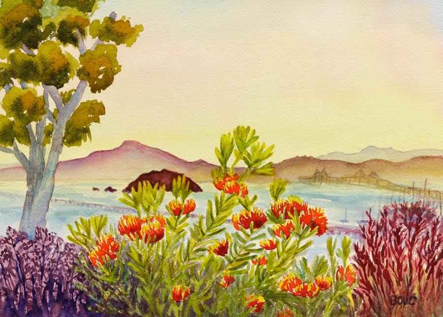 """Pt. Richmond Secret Garden View, Watercolor, 9x12"""""""