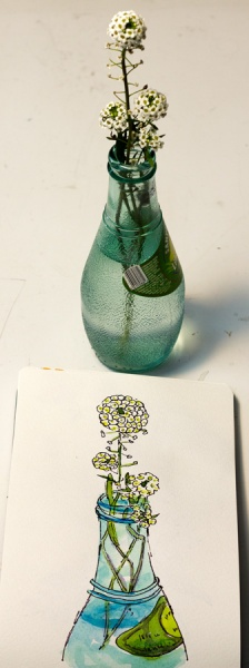 Lacy Wildflowers in Blue Bottle with photo