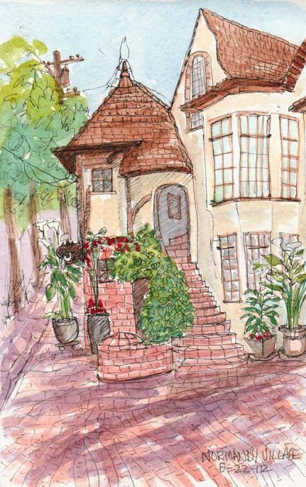 """Normandy Village Berkeley, ink & watercolor sketch, 8x5"""""""