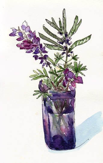Purple wildflowers in purple glass vase, ink & watercolor 8x5""