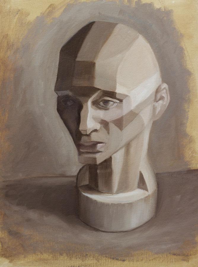 "Frankie Flathead Planes of the Head Study, oil on canvas panel, 11x14"""